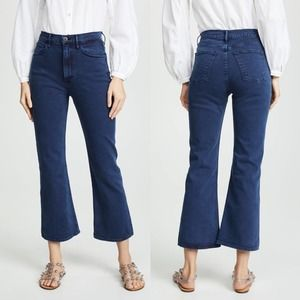 NWT 3x1 Empire Crop Flare Blue Denim Jeans